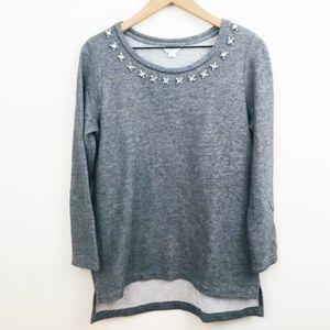 Crown & Ivy Jewel Gray Sweater Tunic Length Medium